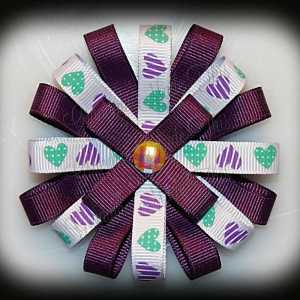 Purple Green Hearts Loopy Flower Bow