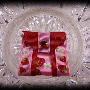Purse Ribbon Sculpture Double Side Ribbon Strawberries Daisies