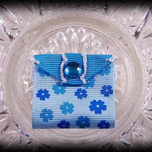 Purse Ribbon Sculpture Petite Blue Flowers