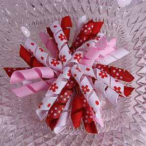 Red White Floral 2 Korker Ribbon Bow