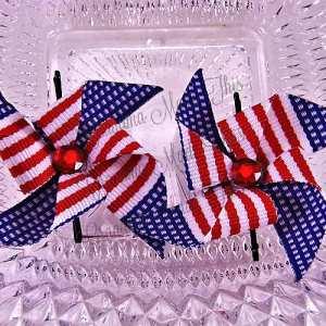 Patriotic Pinwheel Bobby Pin Sets