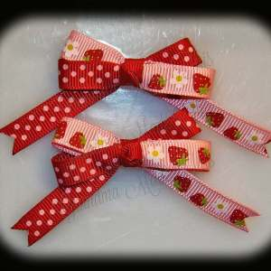 Petite Quad Barrette Hairbow Set Strawberries Polka Dots