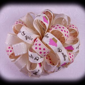 Sugar n Spice Cream Loopy Puff Ball Hair Bow