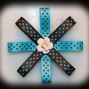 Turquoise Brown Polka Dot Loopy Flower Bow