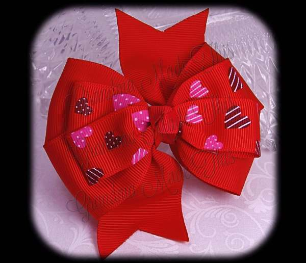Pink-Brown Hearts on Red Stacked Quad Pinwheel Hair Bow