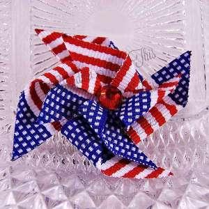 Medium Stacked Patriotic Pinwheel Hair Clips