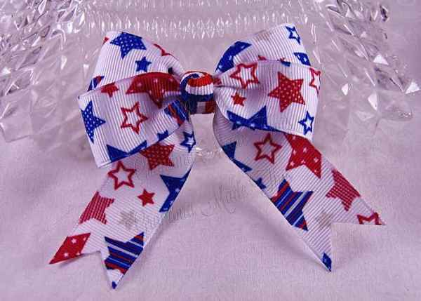 Patriotic Stars Long Tail Quad Hairbow