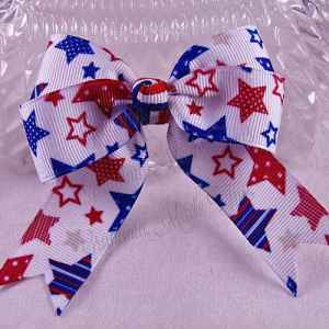 Patriotic Long Tail Quad Hair Bows