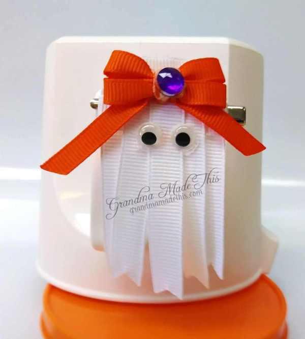 Halloween Ghost Ribbon Sculpture Hair Clip Purple