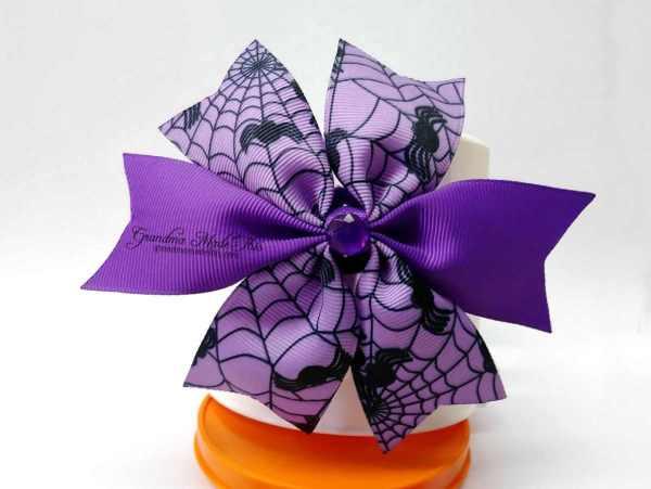 Halloween Spike Wide Ribbon Hairbow Purple Webs