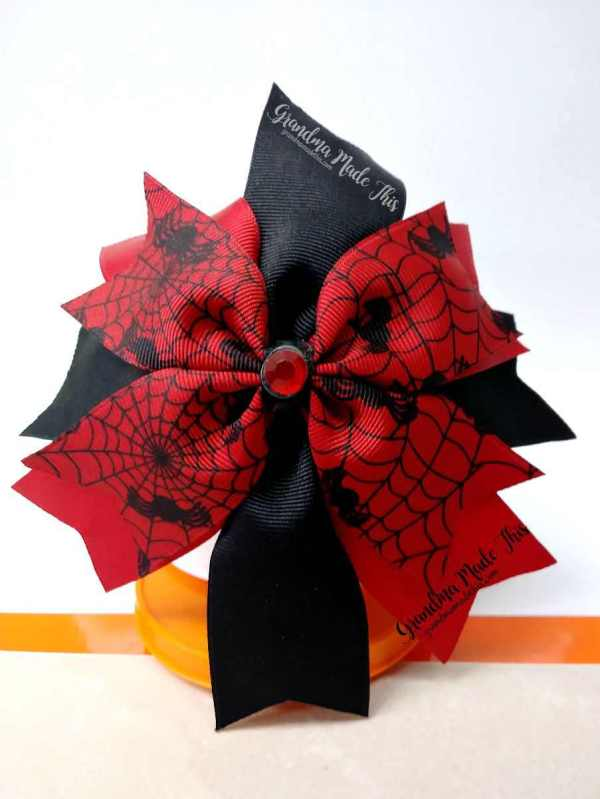 Halloween Spike Wide Ribbon Hairbow Red Webs