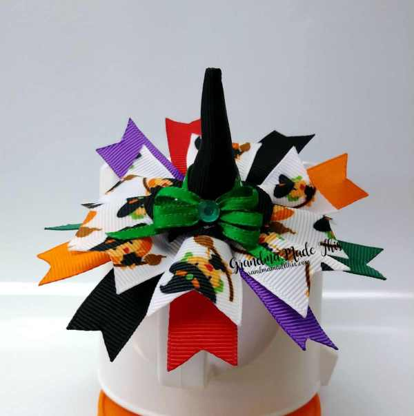 Halloween Spiked Witch Hat Ribbon Sculpture Hairclip