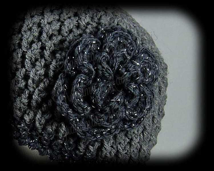Crochet Diamond Posts Hat - Dark Gray Charcoal Sparkle Flower