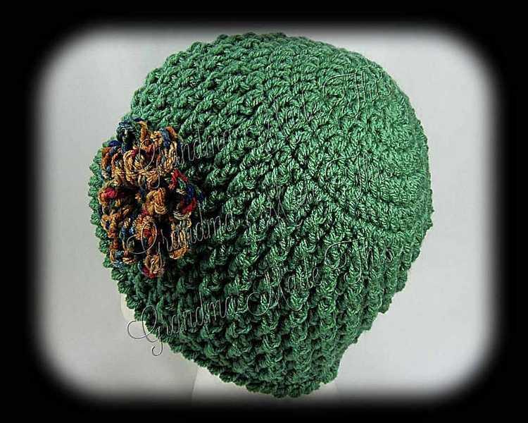 Crochet Diamond Posts Hat - Dark Sage Painted Dessert BackSide