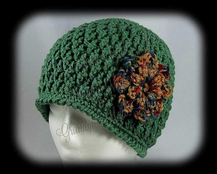 Crochet Diamond Posts Hat - Dark Sage Painted Dessert