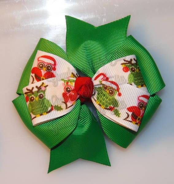 Christmas Owls Green Stacked Quad Pinwheel