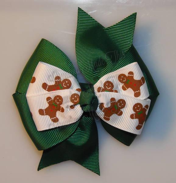 Gingerbread Men Green Stacked Quad Pinwheel