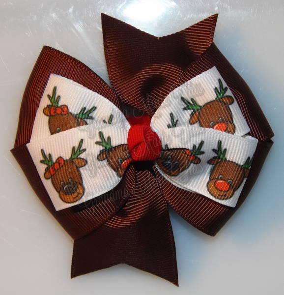 Rudolph Reindeer Brown Stacked Quad Pinwheel