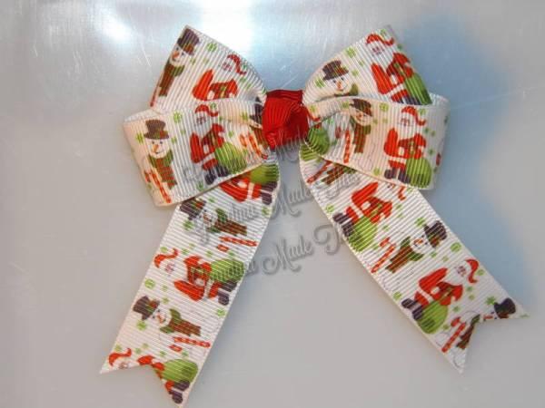 Santa Claus n Snowman Long Tail Hair Bow