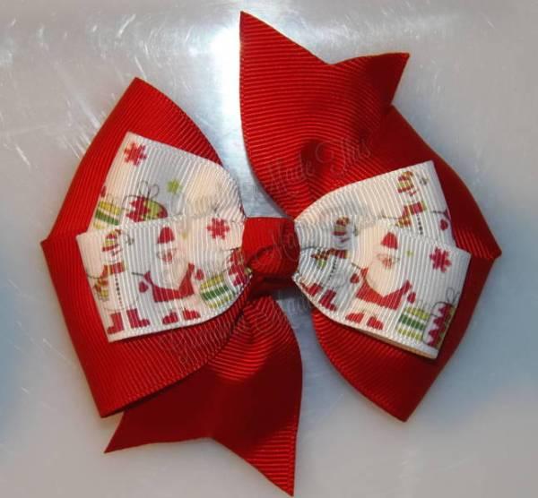 Santa n Snowman Red Stacked Quad Pinwheel