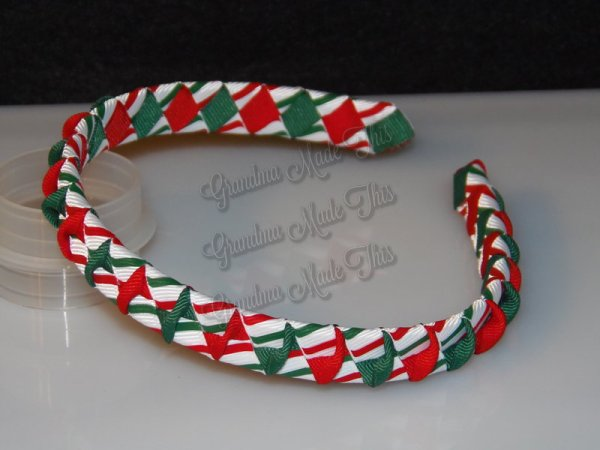 Christmas Red and Green Stripes Twisted Ribbon Woven Headband