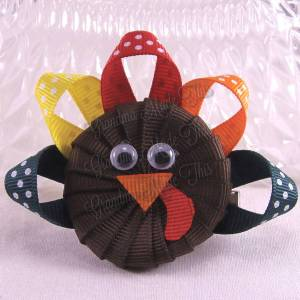 Turkey Head Ribbon Sculpture Hair Clips