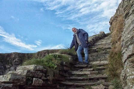 climbing the steps
