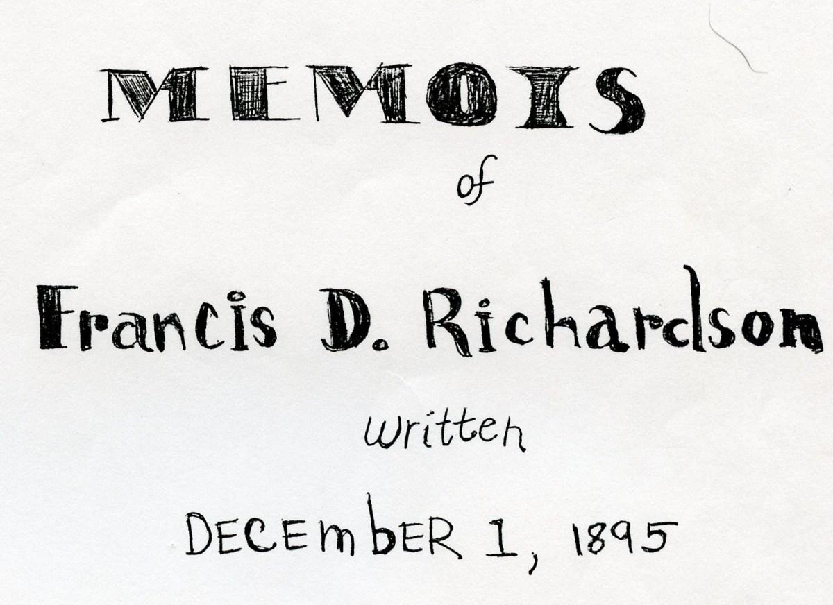 Book Cover of Francis D. Richardsons Memoir