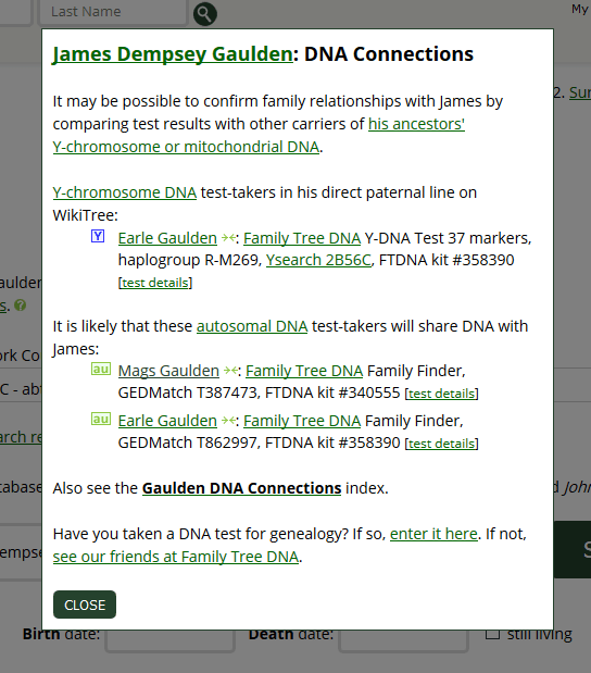 WikiTree DNa search info.
