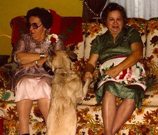 Grandmas M + H, sharing a davenport.