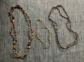 """Rolled Paper Bead Necklaces (60"""" Long), $10.00 / (19"""" Long), $ 5.00"""