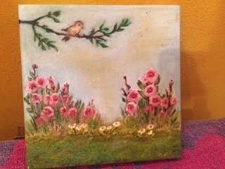 "Original Oil Painting: ""Nostalgic Garden"" (6"" Long x 6"" Wide), $25.00"