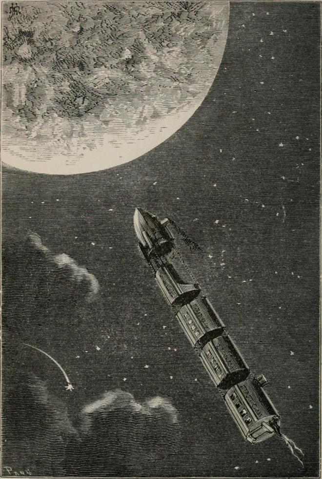 Иллюстрация к книге «С Земли на Луну прямым путём за 97 часов 20 минут» / Public Domain