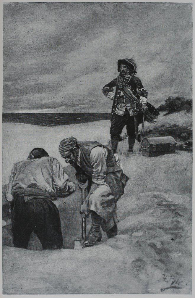 Кидд на Гардинере, наблюдает за захоронением сокровищ (иллюстрация из «Книги Говарда Пайла о пиратах») / Wikipedia