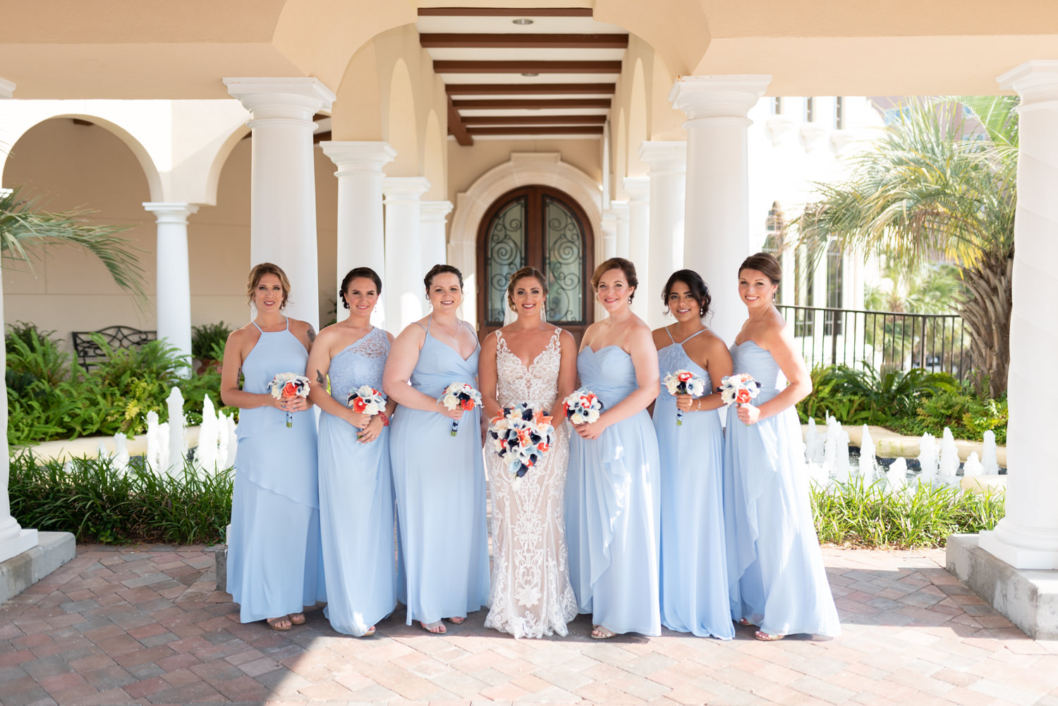 Bridal party pictures by the front columns - Grande Dunes Ocean Club - Myrtle Beach