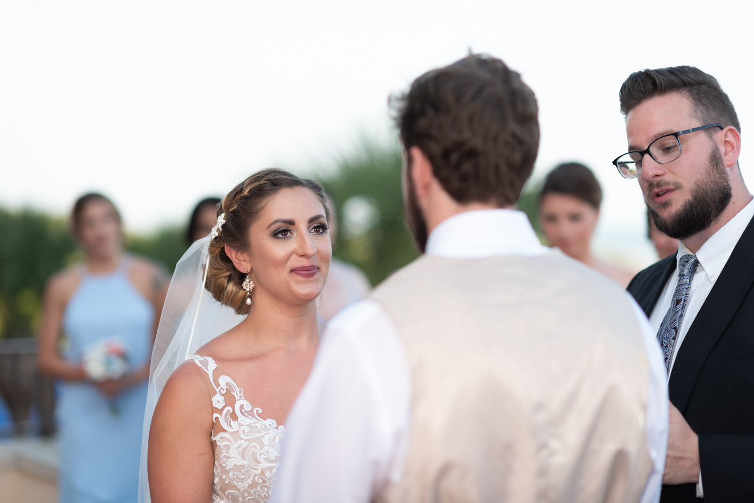Bride looking into grooms eyes - Grande Dunes Ocean Club - Myrtle Beach