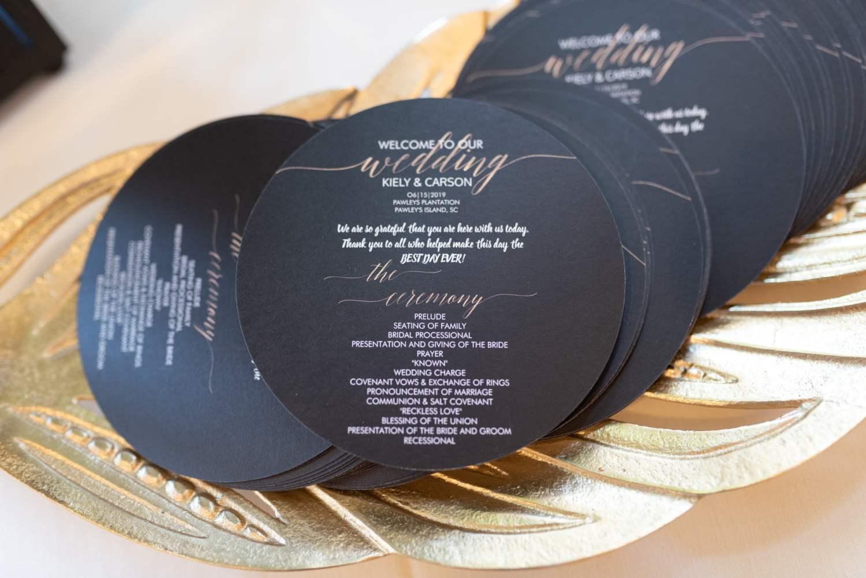 Ceremony programs - Pawleys Plantation