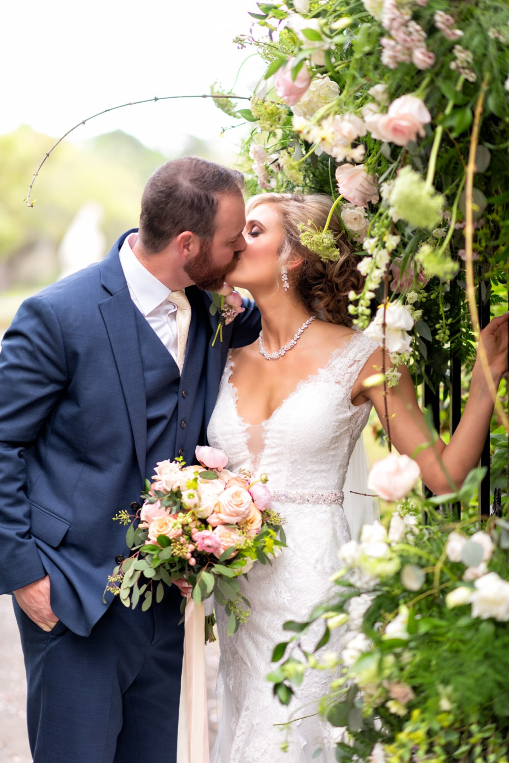 Kiss by the flowers on the gates - Brookgreen Gardens