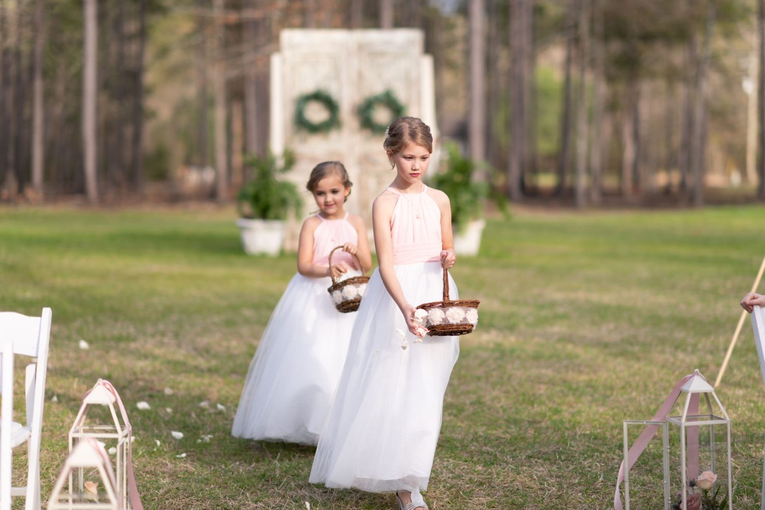 Flower girls throwing the flowers  - Wildhorse at Parker Farms