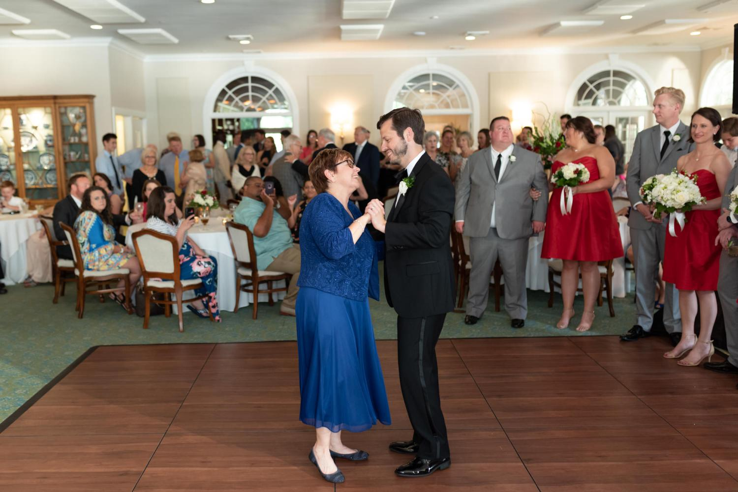 Groom dancing with mom - Wachesaw Plantation