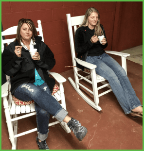 Ladies Rocking on the Porch and Enjoying Shaved Ice