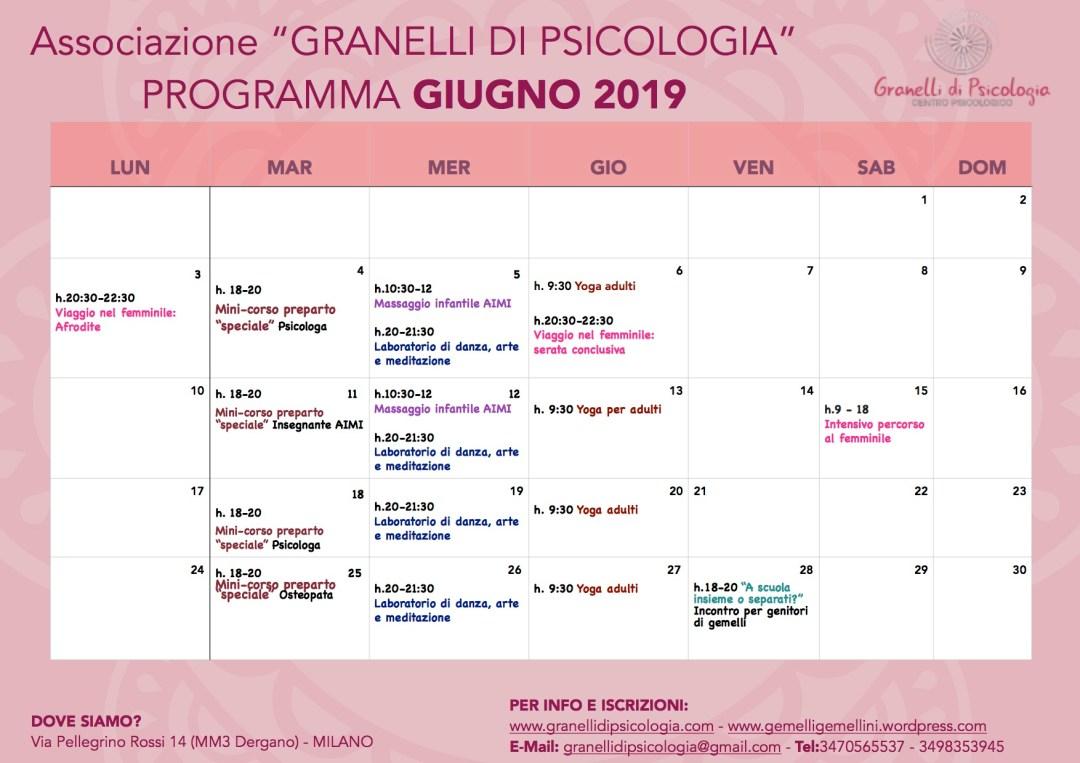calendario GIUGNO 2019