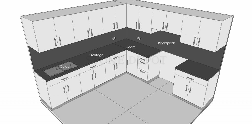 Countertop, Cutout, Frontage, Seam, Backsplash