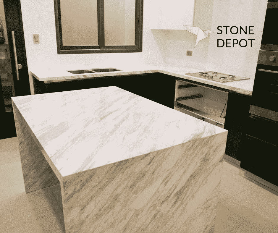 L-shaped Volakas White marble kitchen countertop and island in Lahug, Cebu City