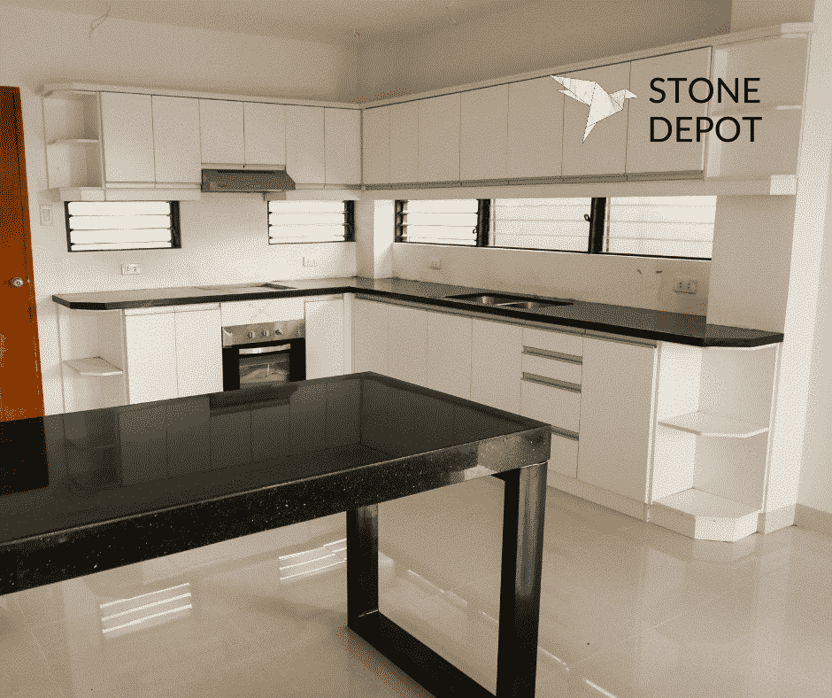 L-shaped Black Galaxy granite countertop and peninsula in Cebu, Philippines