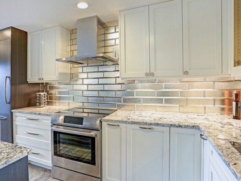 chrome brick backsplash