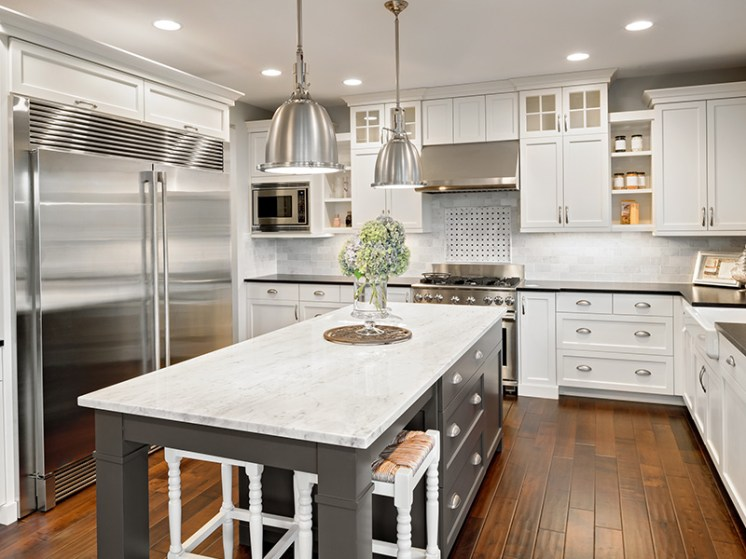 white and steel theme kitchen