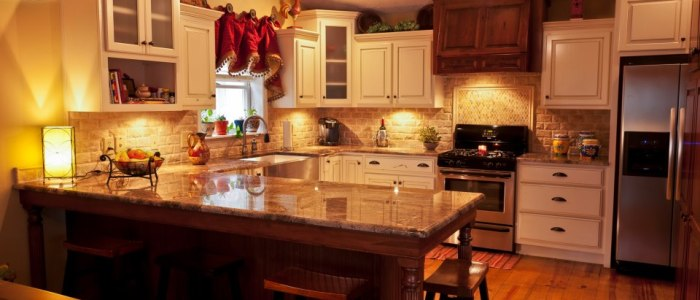 Crema Bordeaux granite on beautiful cabinet