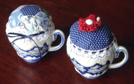 recycled teacup pincushions