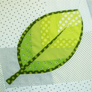 Patchwork leaf block made using improvised curved piecing by Granny Maud's Girl